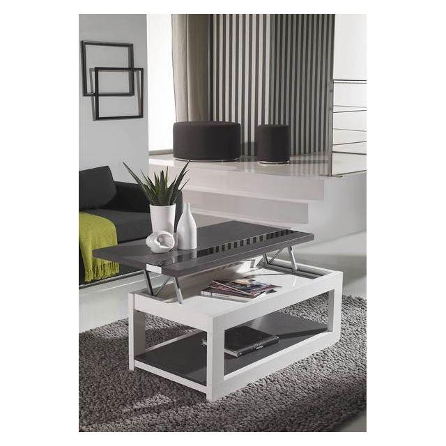 Kasalinea Table basse relevable blanc ou blanc et gris cendré contemporaine Polly