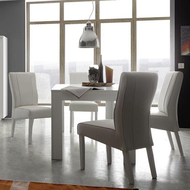 Kasalinea Table à manger blanc laqué mat design Pacome - L 180 cm - Sans rallonge