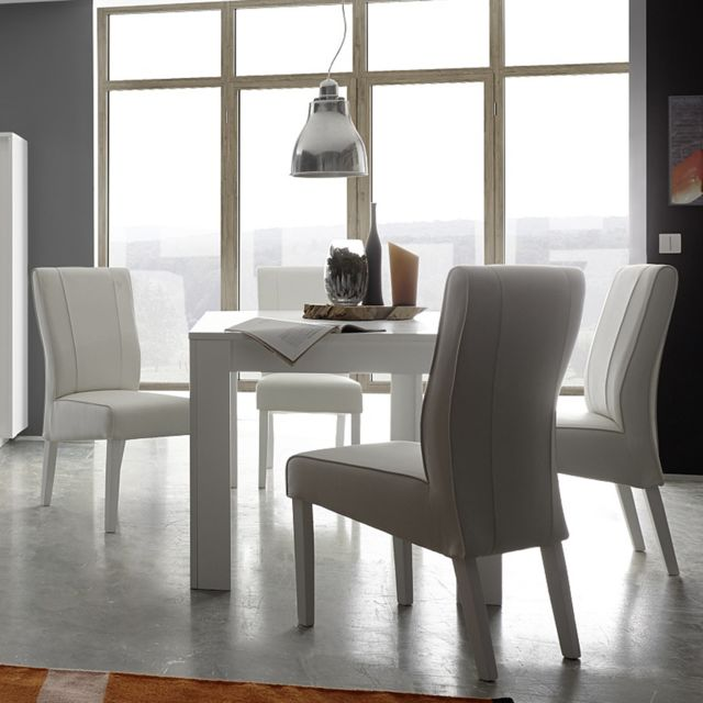 Sofamobili Table à manger blanc laqué mat design Kansas - Sans rallonge