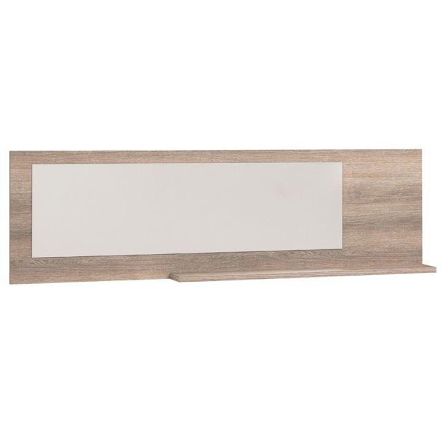 Tousmesmeubles Miroir 1 tablette Noisette gris - Lukkys - L 189 x l 16 x H 55