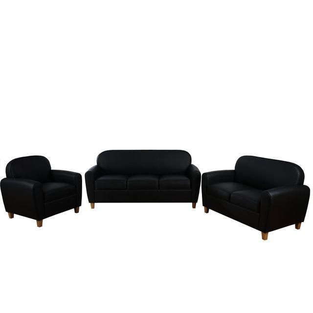 Mendler 3-2-1 garniture de canapés Malmö T377, canapé lounge, style rétro des années 50 ~ similicuir, noir