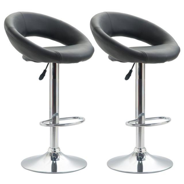 Lot de 2 tabourets de bar PABLO chaise haute ovale pour cuisinecomptoir, réglable en hauteur et pivotante, en synthétique gris