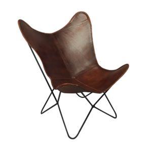Fauteuil Vintage En Fer Et Cuir Design Coloris Marron Pas Cher - Fauteuil cuir vintage pas cher