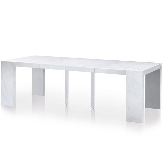 MENZZO Table Console extensible Nassau XL Effet Marbre