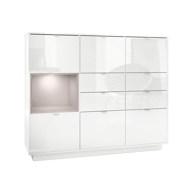 Mpc Buffet design laqu? blanc avec insertion Mocca