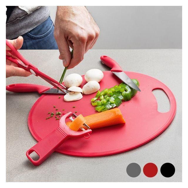 Totalcadeau Planche à découper avec ustensiles de cuisine Couleur - Gris