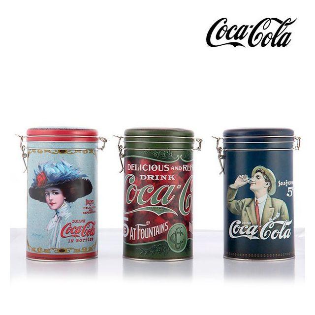Totalcadeau Boîte métallique vintage Coca-Cola - couvercle