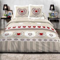 Best Interior - Parure de couette 100% coton Romance - beige - housse-de-couette-200x200-cm