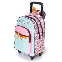 Lili Petrol - Sac à dos à roulettes 2 compartiments rose et bleu ciel