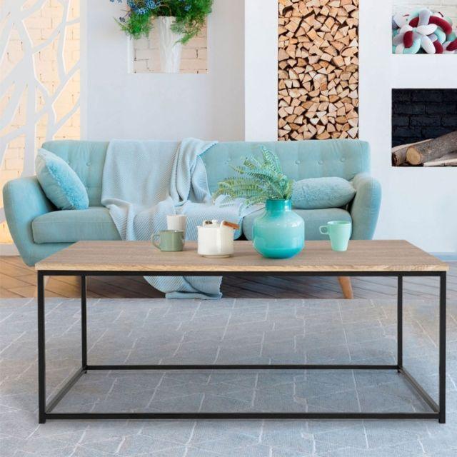 Idmarket Table Basse Design Industriel Bois Et Métal Noir Pas