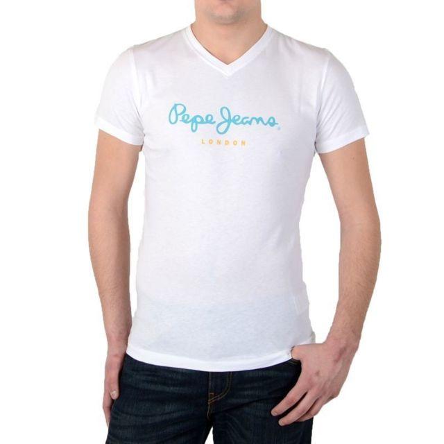 Pepe Jeans - Tee Shirt Eggo V Pm501389 Blanc 800 - pas cher Achat   Vente Tee  shirt homme - RueDuCommerce db3f686a57e4
