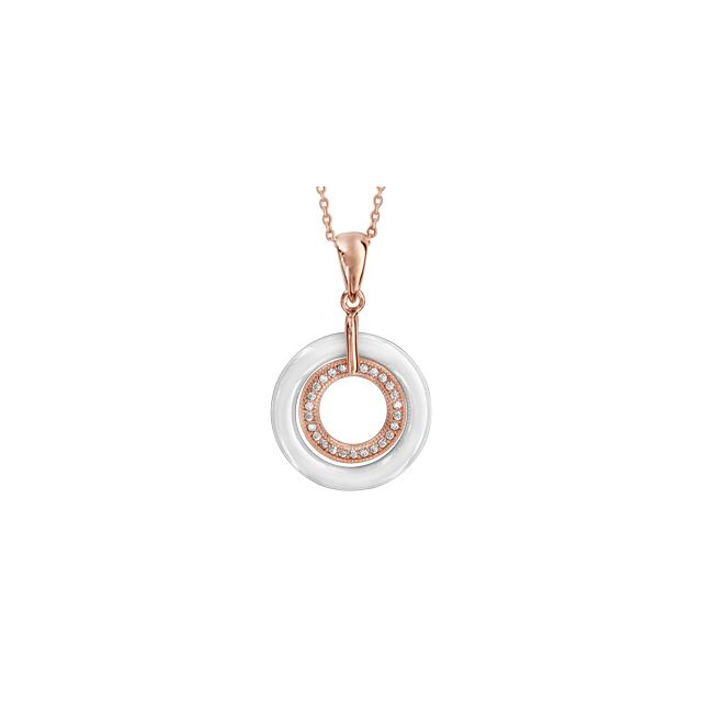 83d9c652ad827 1001BIJOUX - Collier plaqué or rose pendentif 2 cercles 1 céramique blanche  1 oxydes blancs micro
