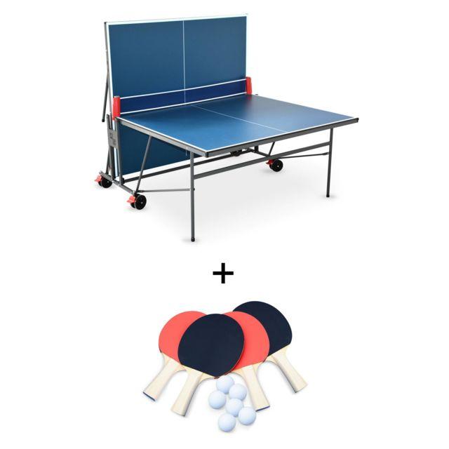 IntérieureSport Indoor Table De Pong Avec 4 Raquettes Bleue Utilisation BallesPour Et 6 Tennis Ping Pliable n0PkwX8O
