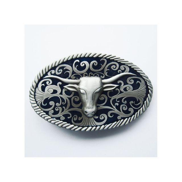 Universel Boucle de ceinture country tete de bison bleu western mixte