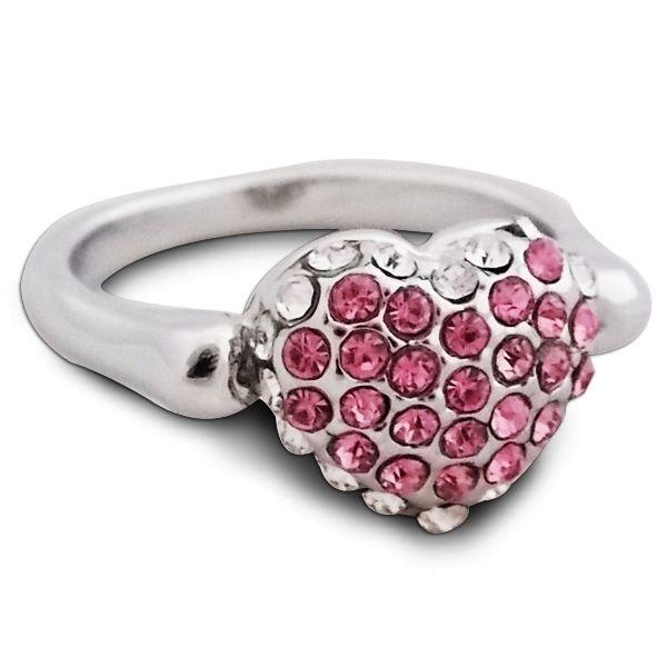 cdd4dc234ca7 Totalcadeau - Bague fantaisie en forme de cœur avec strass brillants blancs  et rose bijou fantaisie