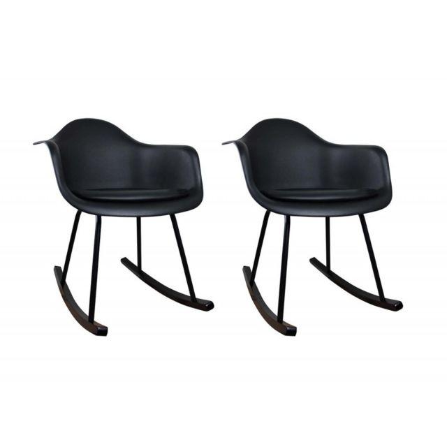 chaises à Lot bois bascule 2 Noir patins Meubletmoi UzpVSM