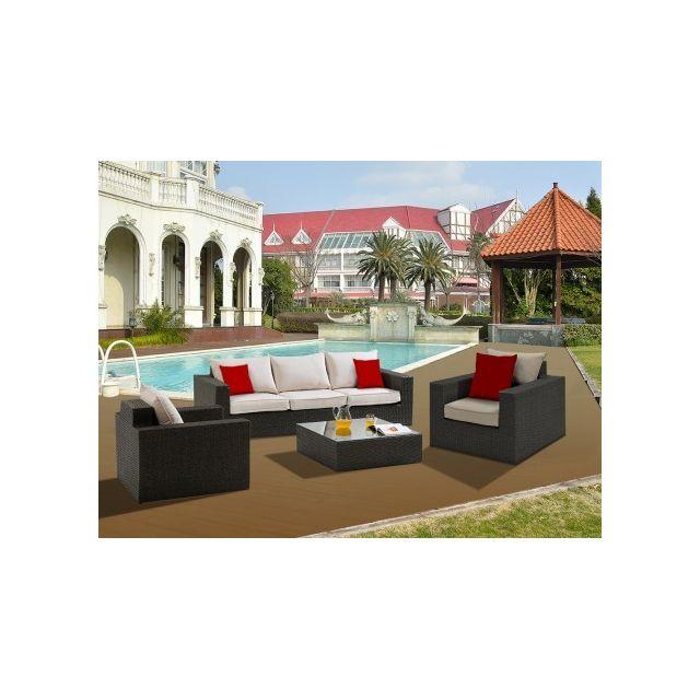 Vente-unique - Salon de jardin Rio Grande en résine tressée assise ...