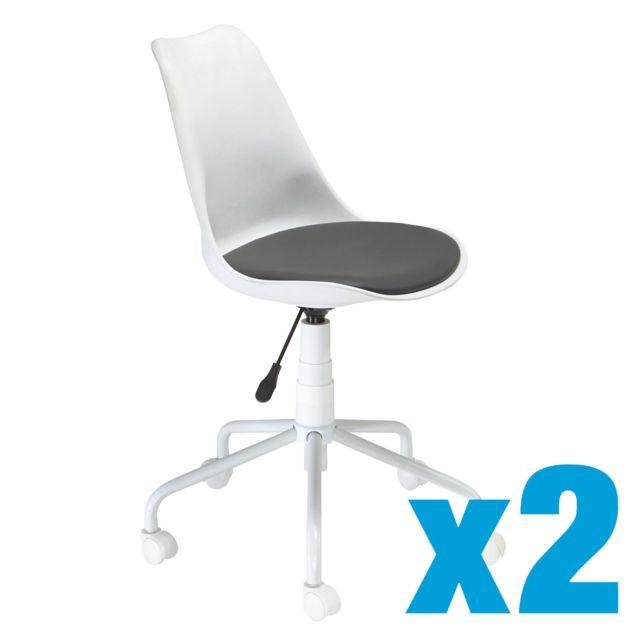 CARREFOUR Lot de 2 Chaise coque blanche