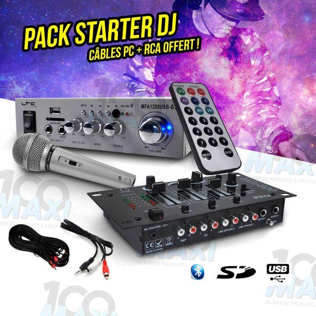 Ibiza Sound Pack Sono Dj Pa Ampli Usb/SD/BT 100W + Micro + Table de mixage 3 voies/5 entrées + Câbles