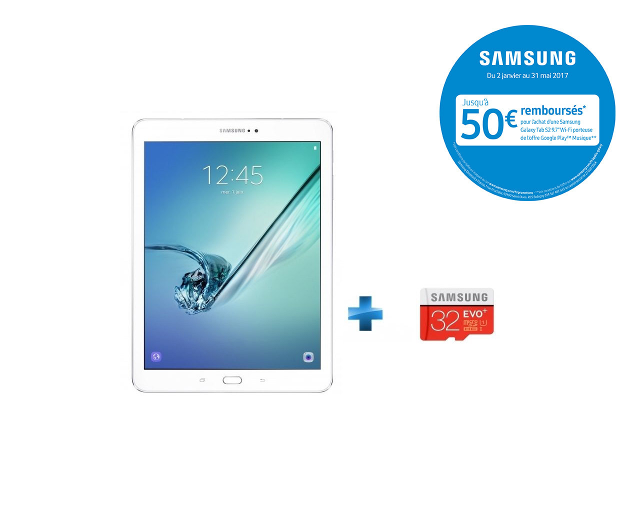 Galaxy Tab S2 - WiFi - Blanc + Micro SDHC EVO Plus 32 Go + Adaptateur SD