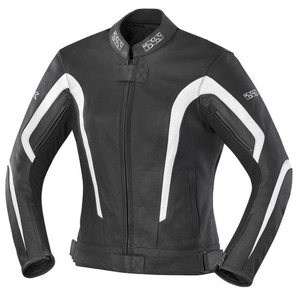 blouson cuir moto sport femme Lady Kelly toutes saisons noir-blanc Promo 40