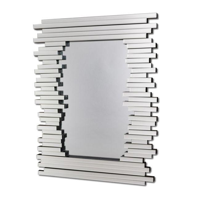 Dekoarte E033 - Miroir moderne mural décoratif effet 3D sur le cadre, avec des cristaux sur différents plans et grande vitre cent