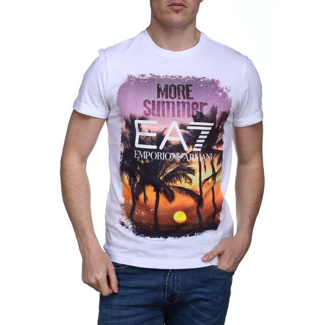 Armani - T Shirt Ea7 Emporio 3yptd5 - Pj80z 1100 Blanc - pas cher Achat    Vente Tee shirt homme - RueDuCommerce b97edb5aa78