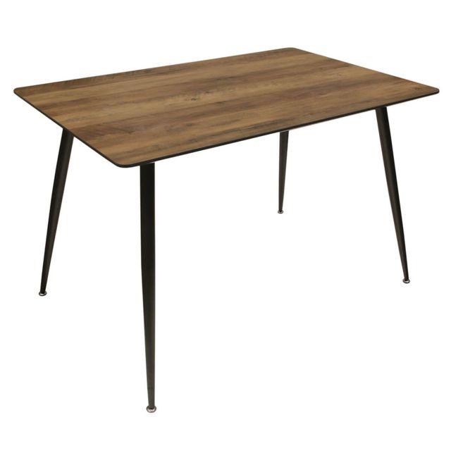 Altobuy Tiany - Table Repas Rectangulaire Effet Bois