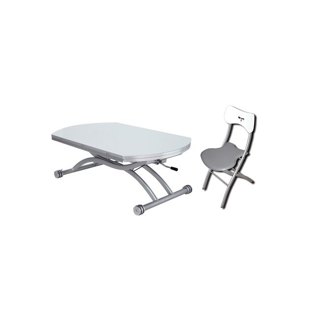 Giovanni Table relevable Colombia Blanc + 4x Chaises Pegasso