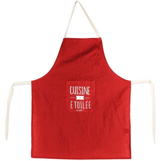 Tablier De Cuisine Inscription Fun Restaurant Cuisine Etoile Rouge Coton