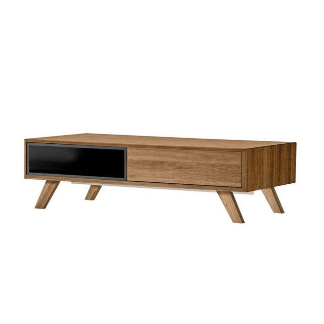 Tousmesmeubles Table basse 1 tiroir Bois/Noir - Nadia