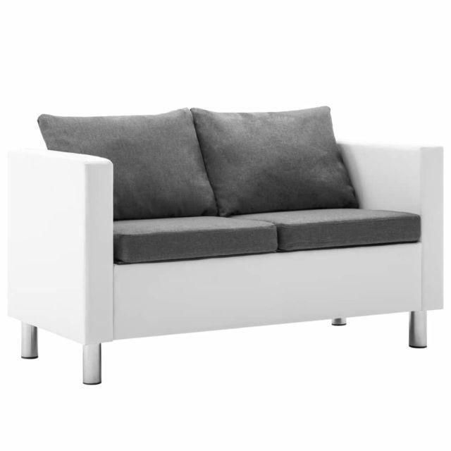 Chic Meubles gamme Sanaa Canapé à 2 places Faux cuir Blanc et gris clair