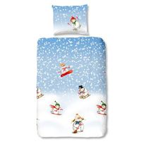 Good Morning - Parure de couette Snowfall style scandinave - 1 housse de couette 140x200 cm + 1 taie 60x70 cm bleu. blanc et vert