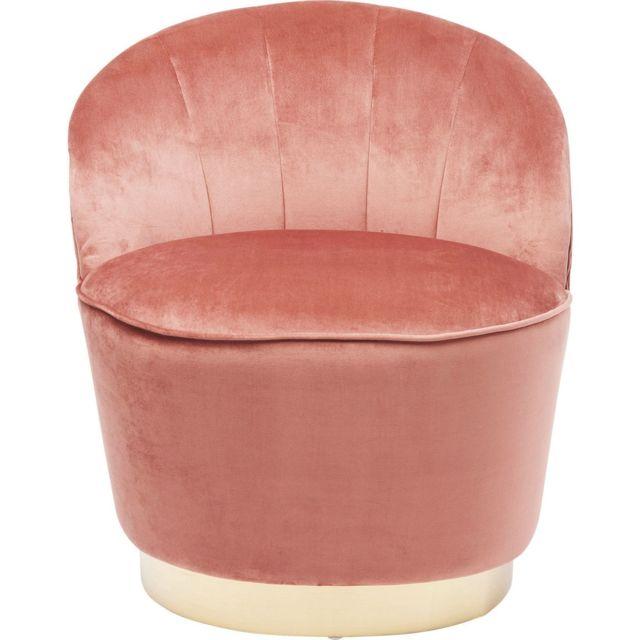 Fauteuil Cherry rose et laiton Kare Design