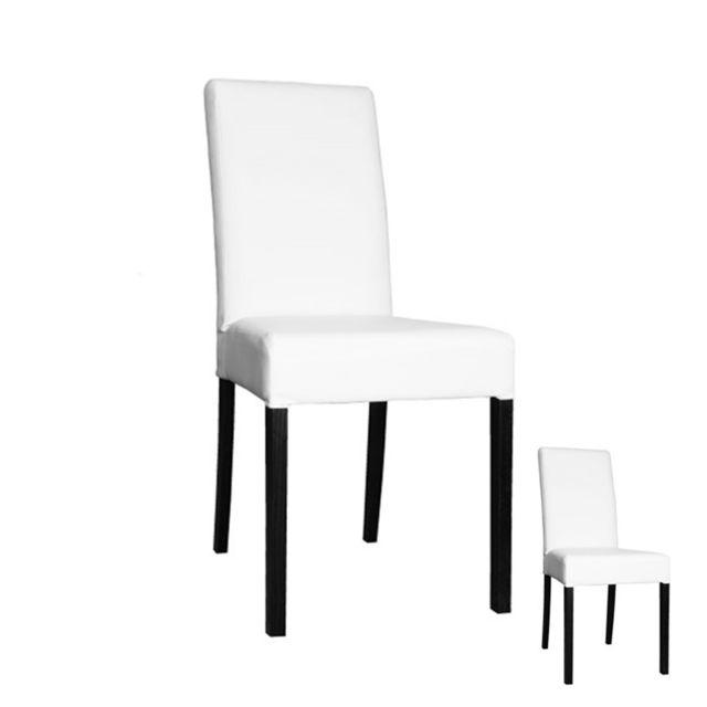 Tousmesmeubles Duo de chaises Simili Cuir Blanc - Sonia - L 49 x l 44 x H 95