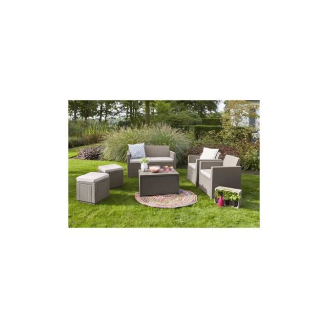 Allibert Salon de jardin Merano 4 places - avec table-coffre - imitation  resine tressee - Cappuccino