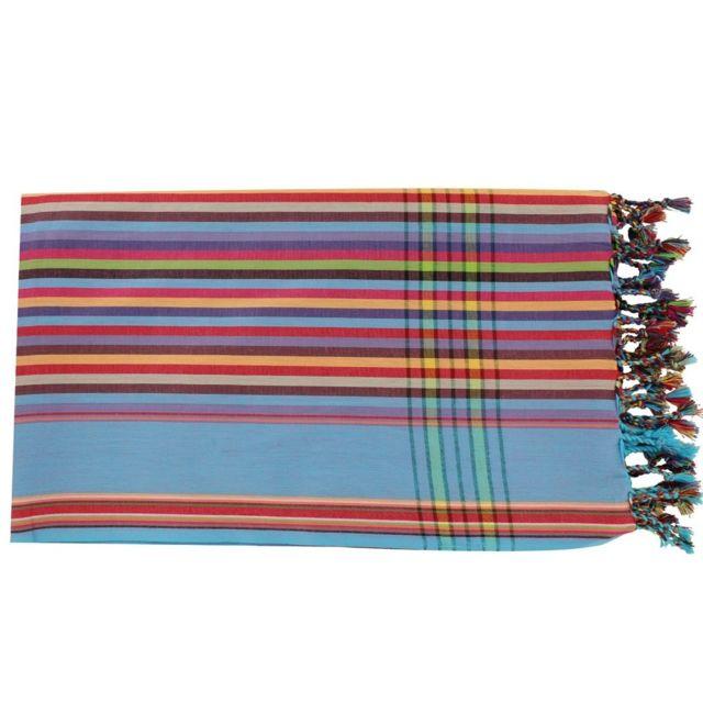 les poulettes bijoux kikoy par o coton multicolore bordure bleue 103cm x 172cm pas cher. Black Bedroom Furniture Sets. Home Design Ideas