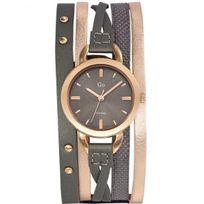 Go Girl Only - Montre Go femme acier doré rose bracelet cuir gris 698595