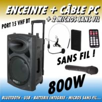 Ibiza Sound - Public adress mobile mp3 800w port15 bt vhf