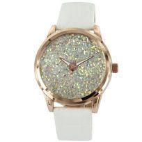 Bellas - Montre Femme Cuir Blanc Diamants Cz 2754