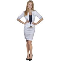 Vidaxl - Costume Tailleur femme et Minijupe avec ceinture 34 Blanc