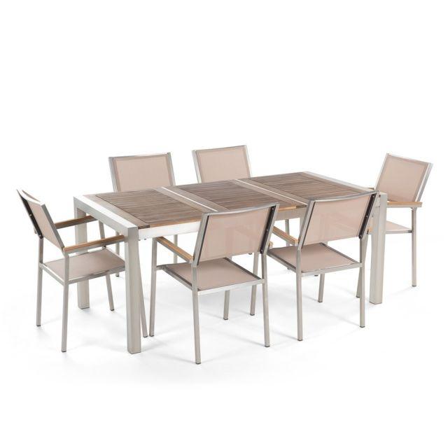 BELIANI - Table de jardin acier inox - plateau bois triple 180 cm ...