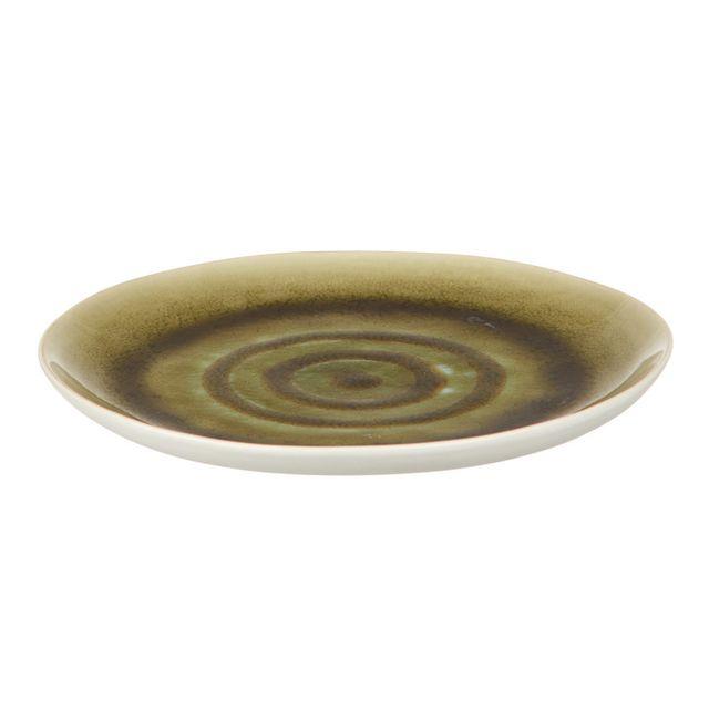 Pomax Assiette à dessert en porcelaine D.20cm Lot de 6 Bambou - Vert