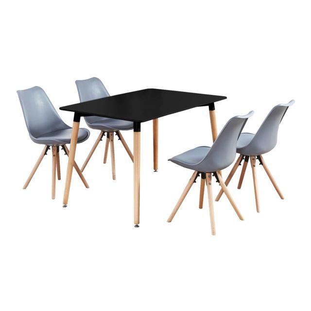 Table Noire + 4 Chaises Grises Scandinaves Sophie Halo-80cm x 75cm