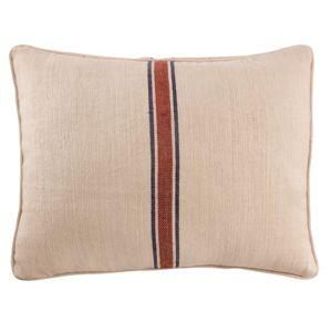 comptoir de famille coussin dosseret lin coton imprim rayure bleu marine rouge 50x70cm. Black Bedroom Furniture Sets. Home Design Ideas
