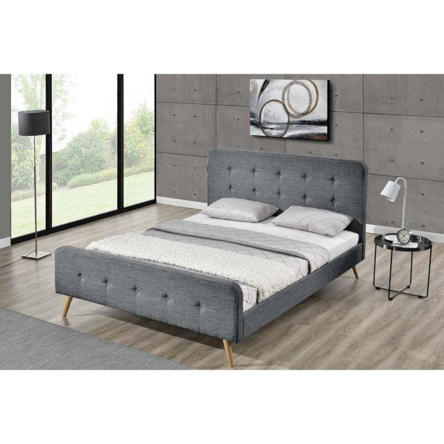 concept usine lit lanka cadre de lit scandinave gris fonc avec pieds en bois 160x200. Black Bedroom Furniture Sets. Home Design Ideas