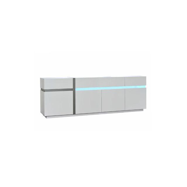 Bahut 4 portes 2 tiroirs avec leds 240x50x84cm coloris blanc laqué