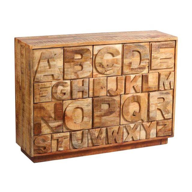 Tousmesmeubles Commode à tiroirs alphabet Bois massif - Chalerston
