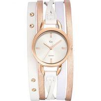 Go Girl Only - Montre Go femme acier doré rose bracelet cuir blanc 698577