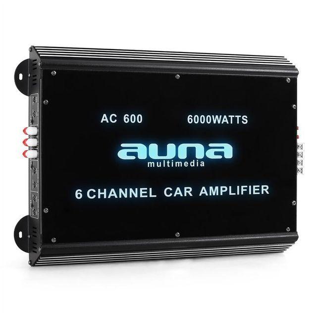 AUNA W2-Ac600 Ampli de voiture bridgeable 6 canaux 6000W PMPO
